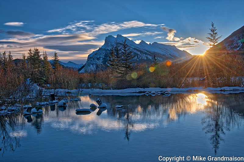 Mount Rundle and the Vermillion Lakes at sunrise, Banff National Park, Alberta, Canada
