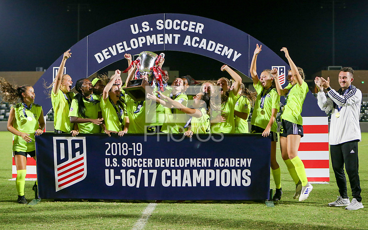 Irvine, CA - July 11, 2019: U.S. Soccer Girls' DA U-16/17 Final Solar Soccer Club vs Lonestar SC Academy at Great Park.