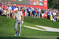 Henrik Stenson (SWE) (Team Europe) celebrates on the 16th green during Saturday afternoon Fourball at the Ryder Cup, Hazeltine National Golf Club, Chaska, Minnesota, USA.  02/10/2016<br /> Picture: Golffile | Fran Caffrey<br /> <br /> <br /> All photo usage must carry mandatory copyright credit (&copy; Golffile | Fran Caffrey)