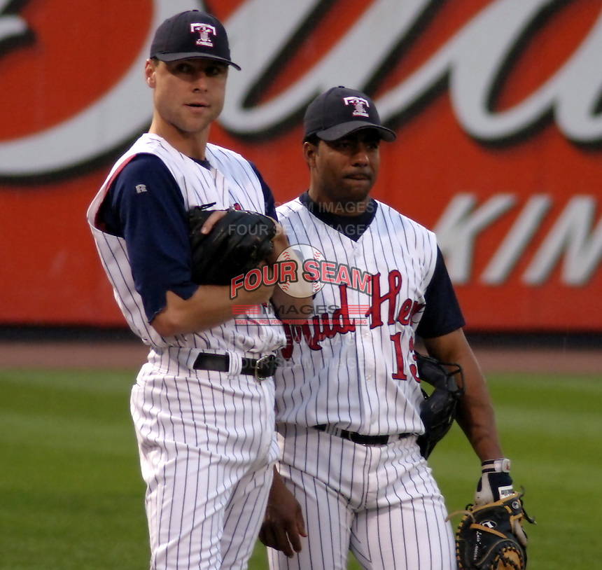 August 31, 2003:  Pitcher Matt Anderson and Luis Taveras of the Toledo Mudhens, Class-AAA affiliate of the Detroit Tigers, during a International League game at Fifth Third Field in Toledo, OH.  Photo by:  Mike Janes/Four Seam Images