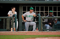 Clinton LumberKings manager Mike Jacobs (17) and hitting coach Frank Moore (right) during a Midwest League game against the Great Lakes Loons on July 19, 2019 at Dow Diamond in Midland, Michigan.  Clinton defeated Great Lakes 3-2.  (Mike Janes/Four Seam Images)