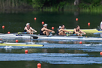 Lucerne, SWITZERLAND<br /> <br /> NZL M4- moves away from the start. 2016 European Olympic Qualifying Regatta, Lake Rotsee.<br /> <br /> Sunday  22/05/2016<br /> <br /> [Mandatory Credit; Peter SPURRIER/Intersport-images]