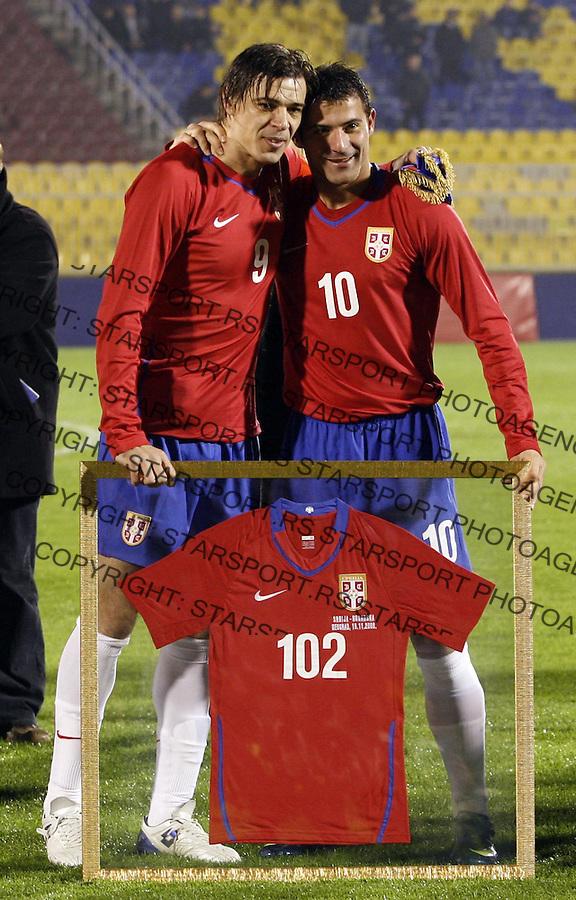 Sport Fudbal Reprezentacija Srbija Bugarska Serbia National Tema Bulgaria Friendli Prijateljska Savo Milosevic i Dejan Stankovic 19.11.2008. (photo: Pedja Milosavljevic / STARSPORT)