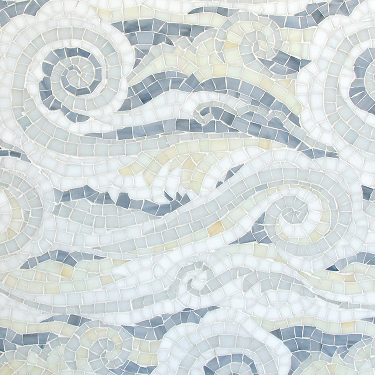 Tempest, a handmade mosaic shown in Opal, Quartz, Pearl, Absolute White, and Moonstone Sea Glass™, is part of the Sea Glass™ collection by New Ravenna.