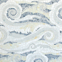 Tempest, a handmade mosaic shown in Opal, Quartz, Pearl, Absolute White, and Moonstone Sea Glass™, is part of the Sea Glass™ collection by Sara Baldwin for New Ravenna.