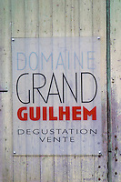 Domaine Grand Guilhem, Degustation Vente, Tasting and Sale. Domaine Grand Guilhem. In Cascastel-des-Corbieres. Fitou. Languedoc. A door. France. Europe.