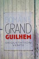 Domaine Grand Guilhem, Degustation Vente, Tasting and Sale. Domaine Grand Guilhem. In Cascastel-des-Corbieres. Fitou. Languedoc. A door. France. Europe.