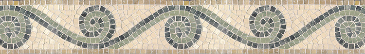 "6"" Bravo border, a hand-cut stone mosaic, shown in tumbledVerde Luna, Travertine White, and Travertine Noce."