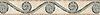 "6"" Bravo border, a hand-cut stone mosaic, shown in tumbledVerde Luna, Travertine White, and Travertine Noce."