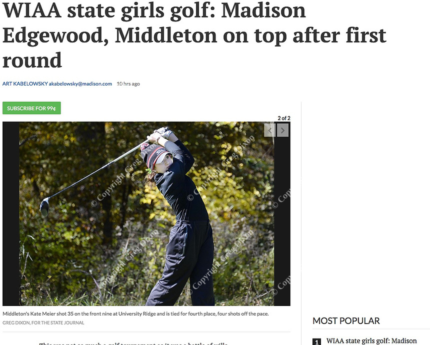 Middleton's Katherine Meier tees off on No. 11 during the Wisconsin WIAA state girls high school golf tournament on Monday, 10/14/19 at University Ridge Golf Course | Wisconsin State Journal article front page C1 and C6 Sports 10/15/19 and online at https://madison.com/wsj/sports/high-school/golf/wiaa-state-girls-golf-madison-edgewood-middleton-on-top-after/article_b145b80f-d9a4-5237-becb-4b3d6f222261.html