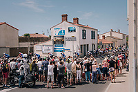 peloton led by Team quickstep shredding through town in Talmont-Saint-Hilaire<br /> <br /> Stage 1: Noirmoutier-en-l'&Icirc;le &gt; Fontenay-le-Comte (189km)<br /> <br /> Le Grand D&eacute;part 2018<br /> 105th Tour de France 2018<br /> &copy;kramon