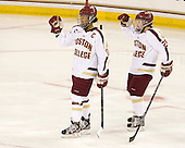 Blake Bolden (BC - 10), Kate Leary (BC - 28) - The Boston College Eagles tied the visiting Boston University Terriers 5-5 on Saturday, November 3, 2012, at Kelley Rink in Conte Forum in Chestnut Hill, Massachusetts.