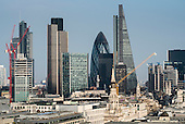 City of London landmark Natwest Tower, Gherkin and Cheese-grater buildings.