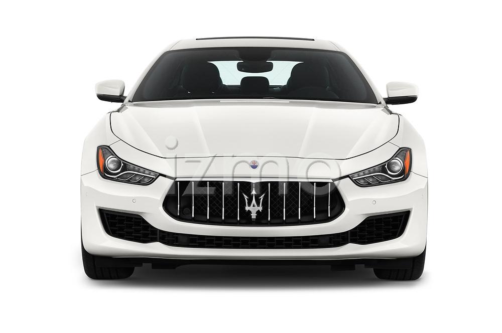 Car photography straight front view of a 2018 Maserati Ghibli Base 4 Door Sedan