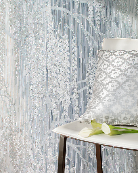 Weeping Willow, a waterjet and hand-cut Jewel glass mosaic, shown in Pearl, Moonstone, and Opal, designed by Kevin O'Brien for the Broad Street™ collection by New Ravenna.<br />