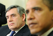 Washington, DC - March 3, 2009 --  Prime Minister Gordon Brown of Great Britain (L) and President Barack obama talk to members of the media following a meeting in the Oval Office at the White House in Washington on Tuesday, March 3, 2009. .Credit: Kevin Dietsch / Pool via CNP