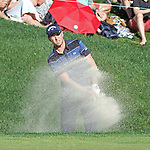 Cromwell, CT-25 JUNE 25 2017-062517MK09 Daniel Berger hits a shot from the sand bunker along the 18th green Sunday afternoon during the the final round of the 2017 Travelers Championship at the TPC River Highlands in Cromwell. Michael Kabelka / Republican-American