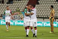 MANIZALES - COLOMBIA, 06-09-2018: Cesar Amaya (Izq) jugador de Once Caldas celebra después de anotar el primer gol de su equipo al Deportivo Cali durante partido por la fecha 8 de Liga Águila II 2018 jugado en el estadio Palogrande de la ciudad de Manizales. / Cesar Amaya (L) player of Once Caldas celebrates after scoring the first goal of his team to Deportivo Cali aramanga during match for the date 8 of the Aguila League II 2018 played at Palogrande stadium in Manizales city. Photo: VizzorImage / Santiago Osorio / Cont
