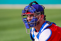 Buffalo Bisons catcher Danny Jansen (9) prior to an International League game against the Indianapolis Indians on July 28, 2018 at Victory Field in Indianapolis, Indiana. Indianapolis defeated Buffalo 6-4. (Brad Krause/Four Seam Images)