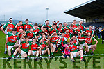 The Kilcummin team celebrate after winning the Munster Intermediate Championship in Mallow on Sunday