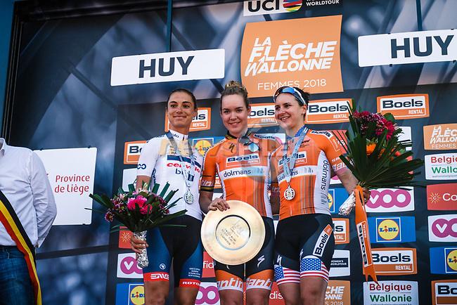 Anna Van Der Breggen (NED) Boels Dolmans Cycling Team wins for the 4th consecutive time with Ashleigh Moolman-Pasio (RSA) Cervelo Bigla Pro Cycling Team in 2nd place and Megan Guarnier (USA) Boels Dolmans Cyclingteam 3rd at the end of the 2018 La Fleche Wallonne Femmes (UCI WorldTour), Huy, Belgium, 18 April 2018, Photo by Thomas van Bracht / PelotonPhotos.com