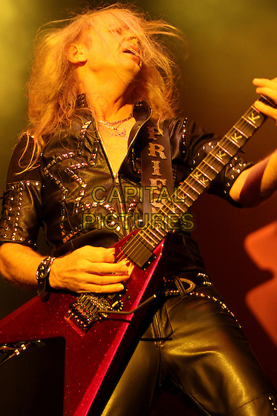 "KK DOWNING.Classic rockers Judas Priest made a stop at the Verizon Encore Amphitheater during their North American ""British Steel"" tour, Alpharetta, GA, USA..August 20th, 2009.stage concert live gig performance performing music half length guitar black leather .CAP/ADM/DH.©Dan Harr/AdMedia/Capital Pictures."