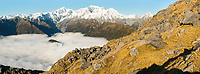 Southern Alps with main highest peaks Aoraki Mount Cook, Mount Tasman and La Perouse, Westland Tai Poutini National Park, UNESCO World Heritage Area, West Coast, New Zealand, NZ