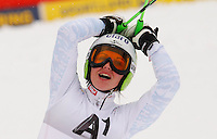 ATENCAO EDITOR IMAGEM EMBARGADA PARA VEICULOS INTERNACIONAIS - SEMMERING, AUSTRIA, 28 DEZEMBRO 2012 - AUDI FIS ALPINE WORLD CUP - A atleta austriaca Anna Finninger comemora vitoria na prova de Slalom Gigante do esqui Alpino durante a Audi FIS World Cup em Semmering na Austria nesta sexta-feira, 28. (FOTO: PIXATHLON / BRAZIL PHOTO PRESS).