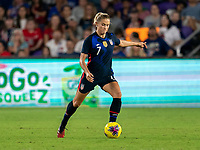 ORLANDO, FL - MARCH 05: Abby Dahlkemper #7 of the United States passes the ball during a game between England and USWNT at Exploria Stadium on March 05, 2020 in Orlando, Florida.