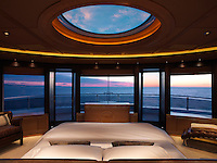 Panoramic windows in the master cabin afford a 360 degree view