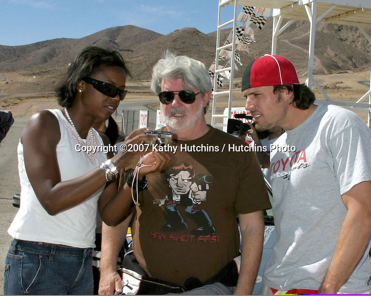 George Lucas & his guest, with Joshua Morrow.2007 Toyota Pro/Celebrity Race Training.Danny McKeever's Fast Lane Racing School.Willow Springs Race Track.Willow Springs, CA  .March 17, 2007.©2007 Kathy Hutchins / Hutchins Photo....