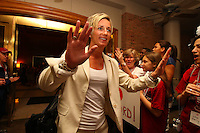 8 April 2008: Stanford Cardinal assistant coach Kate Paye during Stanford's send off party before their 64-48 loss against the Tennessee Lady Volunteers in the 2008 NCAA Division I Women's Basketball Final Four championship game at the St. Pete Times Forum Arena in Tampa Bay, FL.