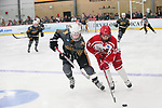 ADRIAN, MI - MARCH 18: Maggie Mitter (10) of Adrian College and Mackenzie Millen (11) of Plattsburgh State University chase a loose puck during the Division III Women's Ice Hockey Championship held at Arrington Ice Arena on March 19, 2017 in Adrian, Michigan. Plattsburgh State defeated Adrian 4-3 in overtime to repeat as national champions for the fourth consecutive year. by Tony Ding/NCAA Photos via Getty Images)
