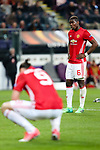 Manchester United's Paul Pogba and Manchester United's Zlatan Ibrahimovic dejected after the match during the Europa League Quarter Final 1st leg match at RSCA Constant Vanden Stock Stadium, Anderlecht, Belgium. Picture date: April 13th, 2017.Pic credit should read: Charlie Forgham-Bailey/Sportimage