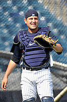 Feb 23, 2010; Tampa, FL, USA; New York Yankees catcher Francisco Cervelli (29) during  team workout at George M. Steinbrenner Field. Mandatory Credit: Tomasso De Rosa