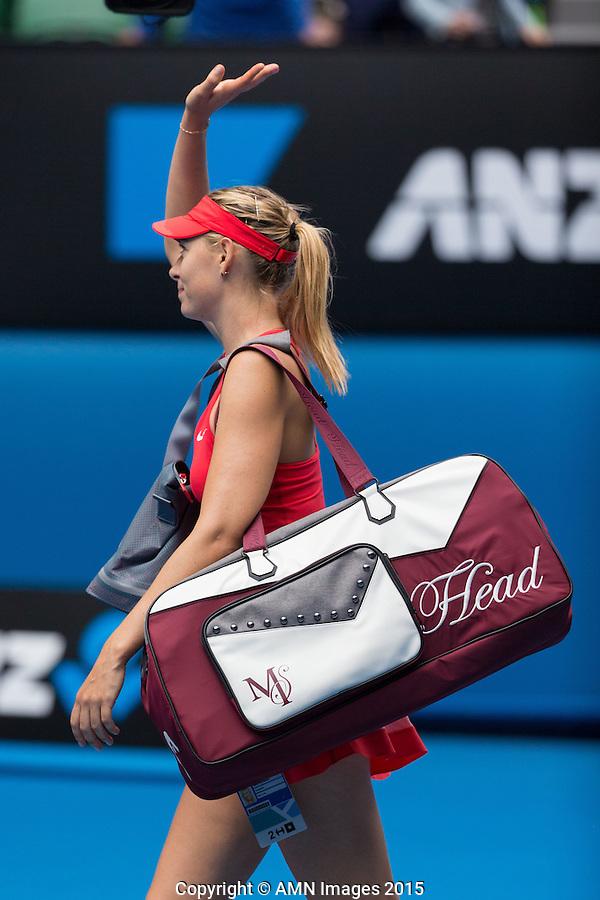 Maria Sharapova (RUS)<br /> <br /> Tennis - Australian Open 2015 - Grand Slam -  Melbourne Park - Melbourne - Victoria - Australia  - 25 January 2015. <br /> &copy; AMN IMAGES