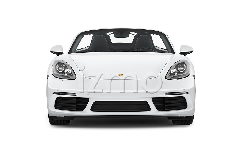 Car photography straight front view of a 2019 Porsche 718-Boxster S 2 Door Convertible Front View