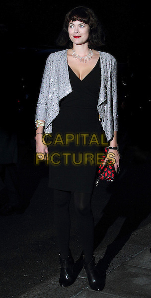 Jasmine Guinness.The Fashion for the Brave fundraising event in aid of the British Forces Foundation & the Household Cavalry Operational Casualties Fund, Dorchester Hotel, London, England..September 20th, 2012.full length black silver red sequins sequined jacket dress lipstick mouth print clutch bag.CAP/ROS.©Steve Ross/Capital Pictures.