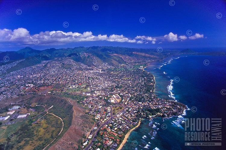 An aerial view of the Waialae-Kahala area of Oahu