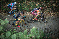 Kevin Pauwels (BEL/Marlux Napoleon Games), Daan Soete (BEL/Pauwels Sauzen Vastgoedservice) and Lars van der Haar (NED/Telenet Fidea Lions) up the cobbles of the Koppenberg.<br /> <br /> Koppenbergcross Belgium 2018