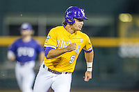 LSU Tigers outfielder Chris Sciambra (5) runs to third base against the TCU Horned Frogs in Game 10 of the NCAA College World Series on June 18, 2015 at TD Ameritrade Park in Omaha, Nebraska. TCU defeated the Tigers 8-4, eliminating LSU from the tournament. (Andrew Woolley/Four Seam Images)
