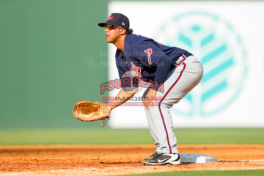 Gwinnett Braves first baseman Christian Marrero #33 on defense against the Charlotte Knights at Knights Stadium on June 3, 2012 in Fort Mill, South Carolina.  The Braves defeated the Knights 5-1.  (Brian Westerholt/Four Seam Images)
