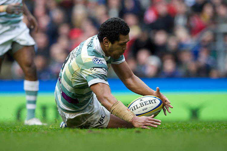 Chris Hala'ufia of London Irish mops up a loose ball during the Aviva Premiership match between Harlequins and London Irish at Twickenham on Saturday 29th December 2012 (Photo by Rob Munro)