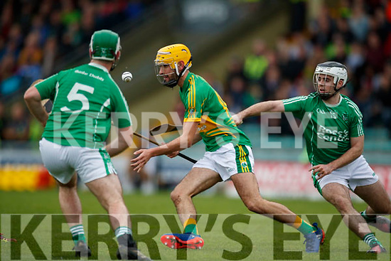 Jack Goulding Ballyduff in action against John Buckley Lixnaw in the Senior County Hurling Final in Austin Stack Park on Sunday