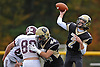 Wantagh quarterback No. 2 Robert Tucker throws a pass for a touchdown during the fourth quarter of a Nassau County Conference II varsity fiootball game against Garden City at Wantagh High School on Saturday, October 24, 2015. Garden City won by a score of 28-18.<br /> <br /> James Escher