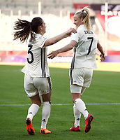 Sara Daebritz, Lea Schueller     celebration   3:0 <br /> /   World Championships Qualifiers women women /  2017/2018 / 07.04.2018 / DFB National Team / GER Germany vs. Czech Republic CZE 180407023 / <br />  *** Local Caption *** © pixathlon<br /> Contact: +49-40-22 63 02 60 , info@pixathlon.de