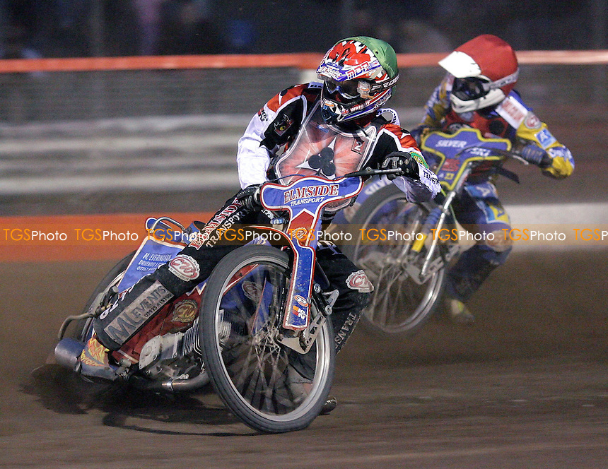 Heat 8 - Wright (green), Boxhall - Lakeside Hammers vs Belle Vue Aces - Elite League Knockout Cup, 1st Round 2nd Leg at Arena Essex - 04/05/07 - MANDATORY CREDIT: Gavin Ellis/TGSPHOTO - IMAGES USED WILL BE INVOICED AT STANDARD RATES..