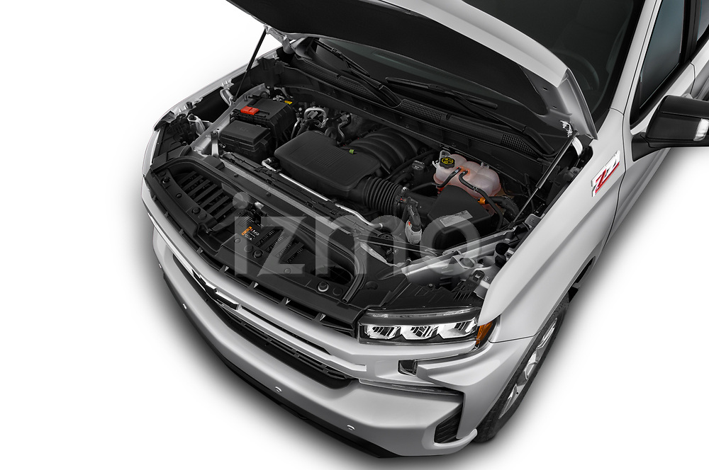 Car Stock 2019 Chevrolet Silverado-1500 RST 4 Door Pick-up Engine  high angle detail view