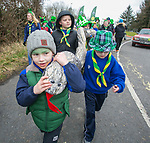 170318<br /> Joe Coyle is driving out the snakes during St Patricks Day parade in Shannon.Pic Arthur Ellis.