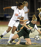 (worcester Ma 111513) Newton North 10, Angela  Ward, and Minnechaug 11, Marissa Falcetti, in hot pursuit of the ball, during the MIAA State Girls Soccer Division 1 final, Friday, at Worcester State College in Worcester. (Jim Michaud Photo) For Saturday